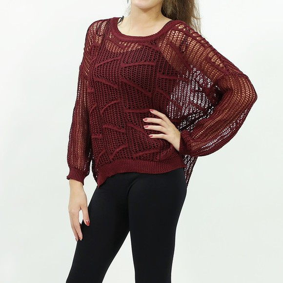 fishnet top sweater knit sweater long sleeve back to school fall outfits fall sweater burgundy