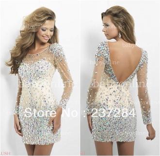 sparkly dress glitter dress homecoming dress dress jewels long sleeve dress evening/homecoming dresses