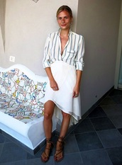 le fashion,blogger,blouse,skirt,shoes,white skirt,stripes,blonde hair,button down shirt,flowy,pockets,gladiators,button down,white on white,flowy skirt,silk,shirt,striped shirt,asymmetrical skirt,spring outfits,date outfit