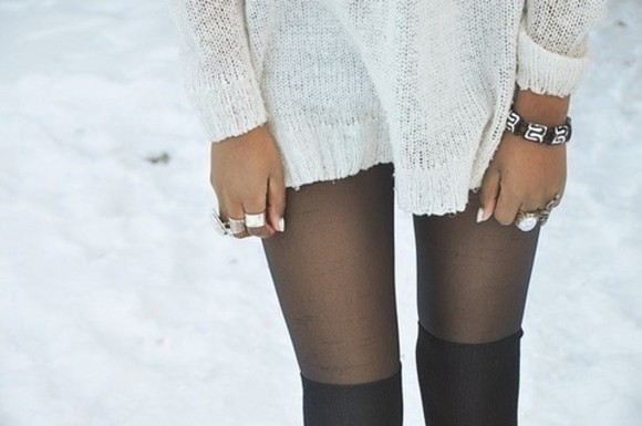 leggings sweater style loose knit sweater thigh thigh highs winter sweater ring bracelets jewels cold thin leggings fashion