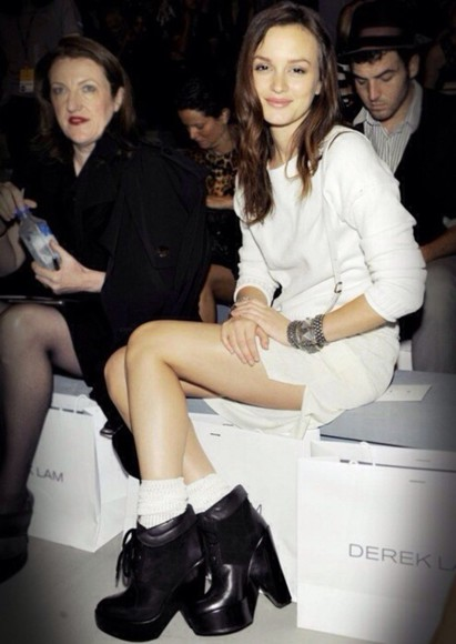 leighton meester white dress boots shoes jewels platform high heels