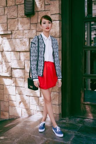 tricia gosingtian blogger jacket red skirt white shirt pattern