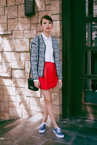 tricia gosingtian blogger jacket red skirt white shirt pattern