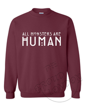 sweater,jumper,crewneck,sweatshirt,fashion,geek,party,classic,marron,all monsters are human,american horror story sweater,tumblr,tumblr outfit,tumblr girl,tumblr clothes,burgundy,burgundy sweater