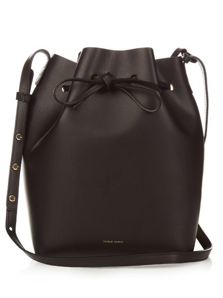 bag bucket bag gold leather black