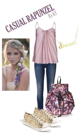 blouse tank top purple backpack disney princess disney disney princess inspired jeans