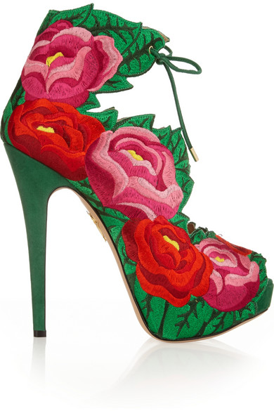 Hibiscus embroidered satin sandals