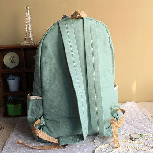 Dot print bowknot canvas backpack