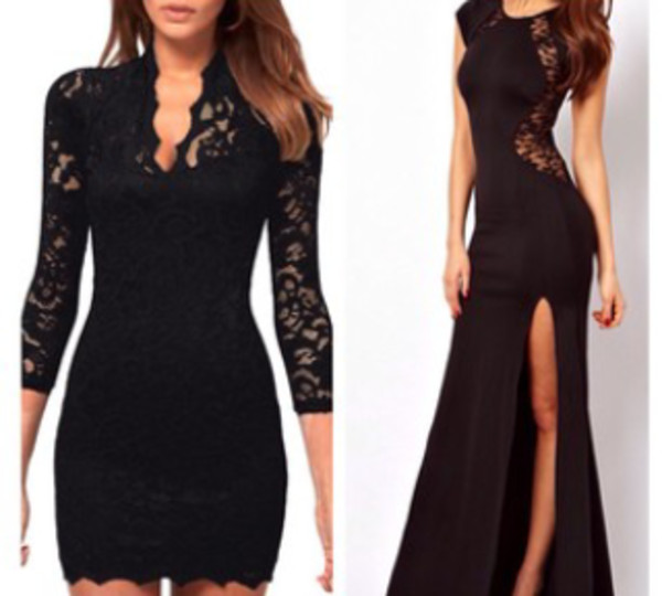 dress lace little black dress black black lace long gown evening dress