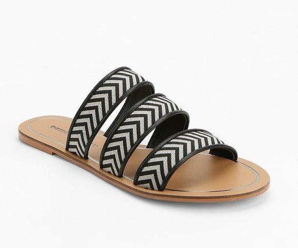 706580609aa3 shoes slide sandals flat sandals black and white shoes zigzag pattern cute  sandals black and white