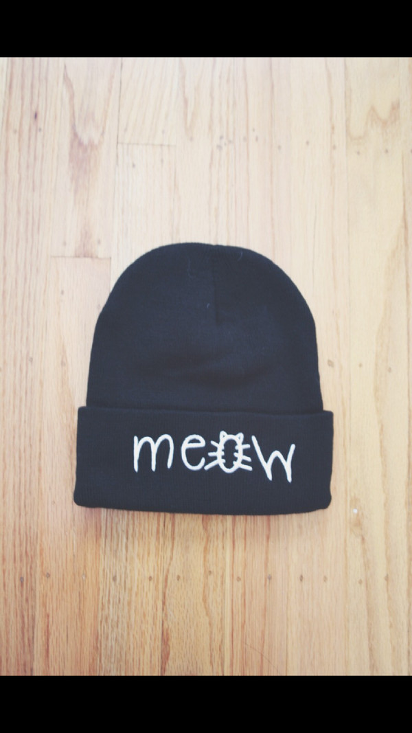 hat meow hat black beanie