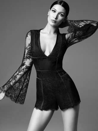 romper lace top shorts plunge v neck bella hadid model