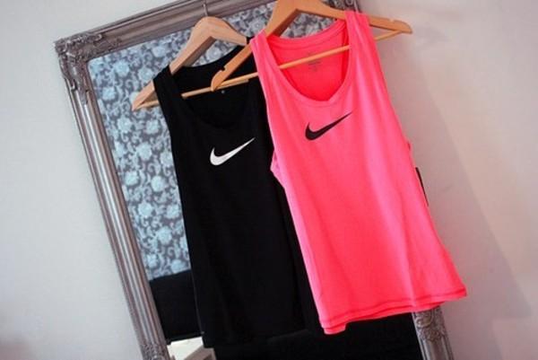 shirt black white logo top nike sportswear sportswear tank top pink blouse