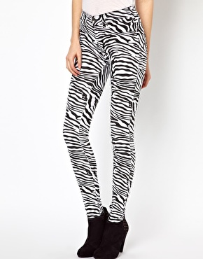 Dr Denim | Dr Denim Plenty Zebra Printed High Waist Jeggings at ASOS