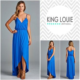 dress maxi dress royal blue dress fashion blue dress