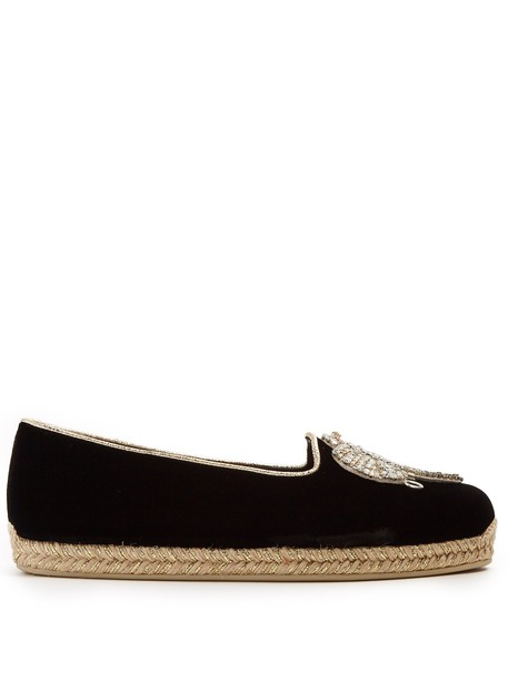christian louboutin embroidered espadrilles velvet black shoes