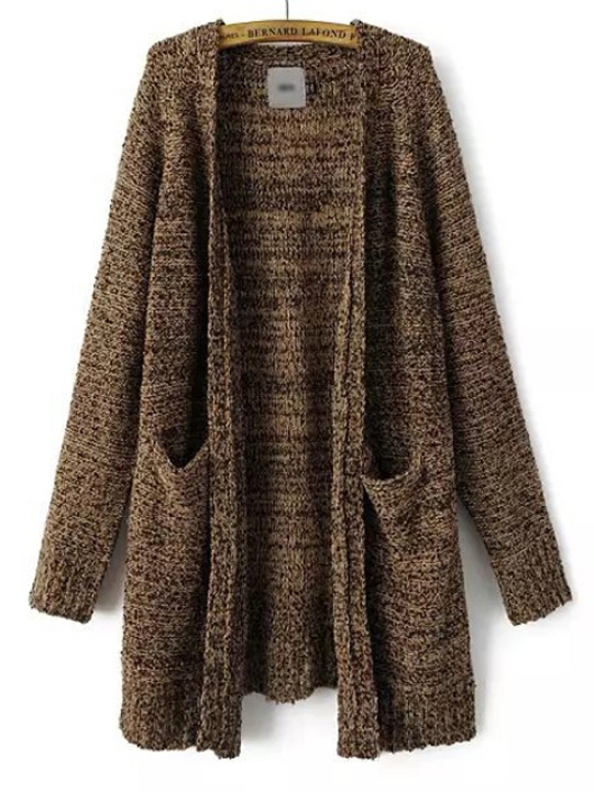 Khaki collarless double pockets long loose knit outerwear