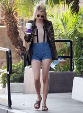 shorts,swimwear,one piece swimsuit,sandals,jacket,top,bodysuit,emma roberts,shoes