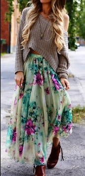 skirt,sweater,shirt,floral skirt,cropped sweater,maxi skirt,knitted sweater,blouse,flower skirt,boho,romantic,maxi,long skirt,fall outfits,oversized sweater,off the shoulder top,neutral,summer top,grey sweater,green,pink,purple,flowers,style,summer skirt,girly,flowered shorts,fashion,crop,floral,outfit,blonde hair,floral midi skirt,pleated midi skirt,midi skirt,soft,summer outfits,blue,hippie,indie boho,flowered