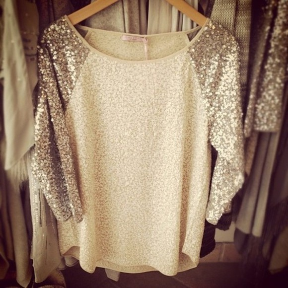 strass paillettes l blouse pull soiree classy that's chic gold shirt too tee crop clothing glitter tan sparkles cute pretty style fashiondesign baseball tee pullover paillettes gray hoodie silver sweater