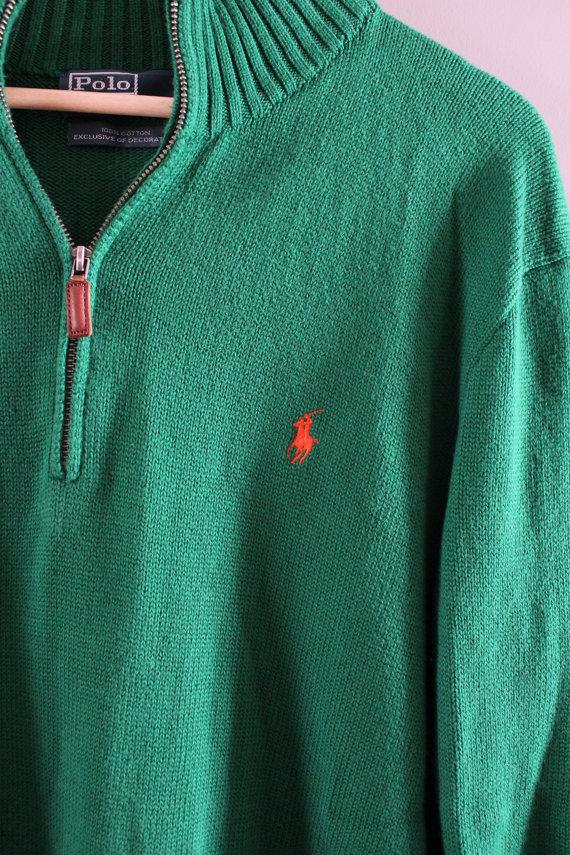 861934808 Ralph Lauren Sweater Henley Green Sweater Zip Up Plain Pullover Polo Sweater  Unisex Knit Minimalist Vintage ...