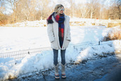 barefoot blonde,blogger,jeans,fuzzy coat,hairstyles,blanket scarf,winter outfits,duck boots,white fluffy coat,teddy bear coat,white oversized coat
