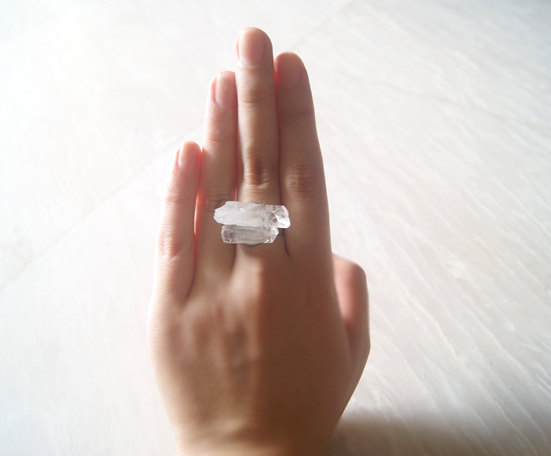 Clear crystal quartz ring collection by moonwalkmw on etsy