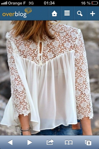 top blouse white dress foral dentelle top dentelle blanche