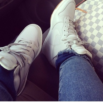shoes laces white wedges sneakers style fashion