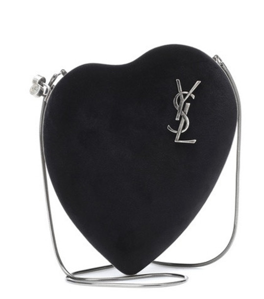 Saint Laurent Love Box suede shoulder bag in black