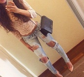 top,jeans,shoes,coral,nude,nude top,coral top,lace top,cute top,nail polish,shirt,light pink,half sleeve top