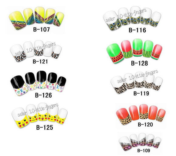nail accessories nail polish manicure stickers diy nail Nails decoration decals peacock tiger print louis vuitton fashion watermelon print picachu leopard print nail tips pedicure white red yellow black pink purple