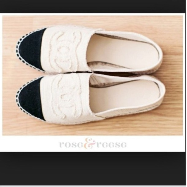 Chanel espadrilles cream with black tip
