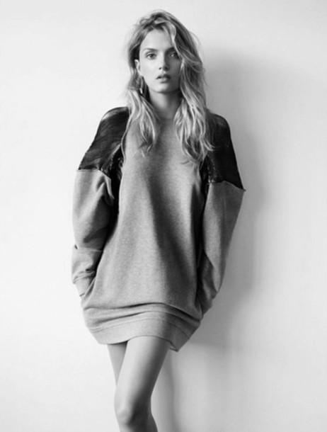 sweater leather hoodie big sweater dress grey sweater ovesized sweater