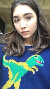 sweater,rowan,rowan blanchard,gmw,bmw,boy meets world,girl meets world,disney,sabrina carpenter,jumper,dinosaur,blue,green,cute,cold