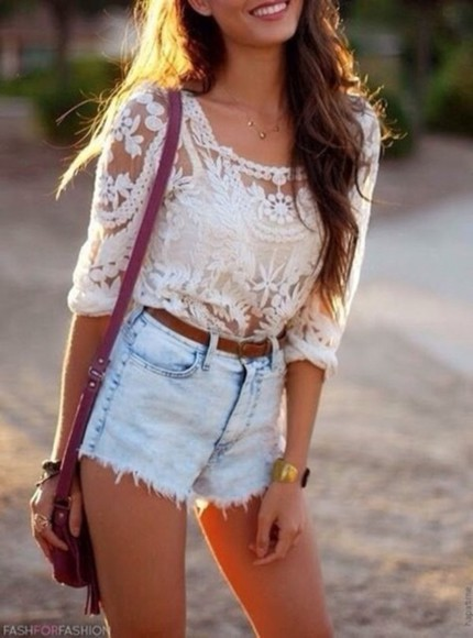 High waisted shorts fashion blouse jeans long hair brown hair wavy hair spring lacy bag strap denim shorts ripped shorts lace top spagetti straps white singlet white lace skirt burgundy shoulder bag