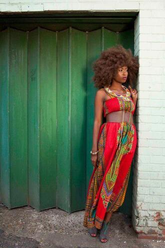 dress afrocentric waist belt bohemian ethnic print african print