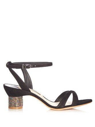embellished sandals suede gold black shoes