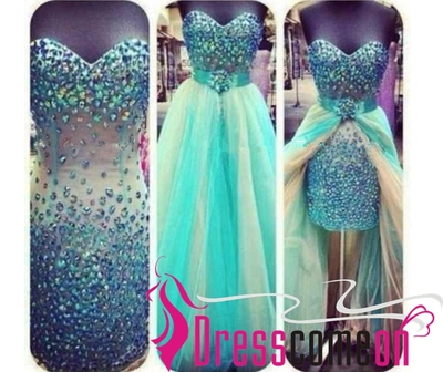 Unique custom sweetheart beaded prom dress,high low ombre prom dress,new ombre dress,high low tulle prom dress,turquoise tulle prom dress q55 · dresscomeon · online store powered by storenvy