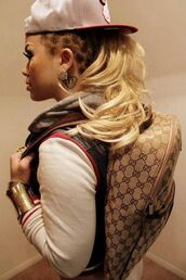 bag,gucci,snapback,leather jacket,baseball jacket,earrings,bracelets,gold bracelet,hat,jacket