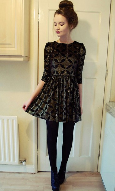 Dress: girly, sparkle, formal, dress up, skater dress, new year's ...