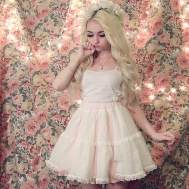 skirt flare skirt pastel blush pink pink skirt