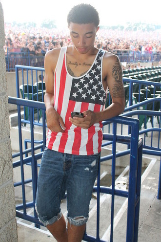 shirt american flag shorts cut off shorts tattoo dope dark wash jeans