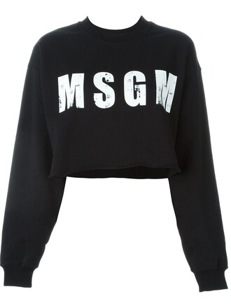sweatshirt cropped print black sweater