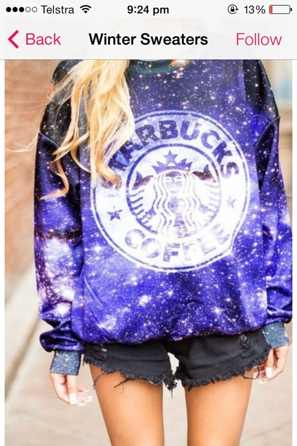 sweater hat starbucks coffee purple stars baggy