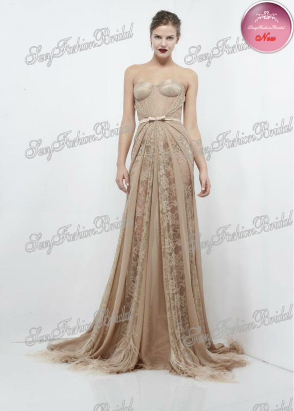 2013 New Arrival Sweetheart A line Floor Length Lace And Chiffon Designer Ellie Saab Evening Dress-in Evening Dresses from Apparel & Accessories on Aliexpress.com
