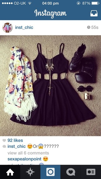 dress black little black dress shoes sunglasses party pretty necklace wedges shoes black wedges flowers