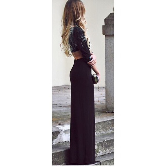 black maxi dress maxi backless Red Lime Sunday
