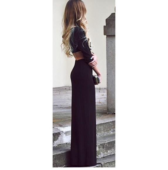 black maxi dress maxi backless