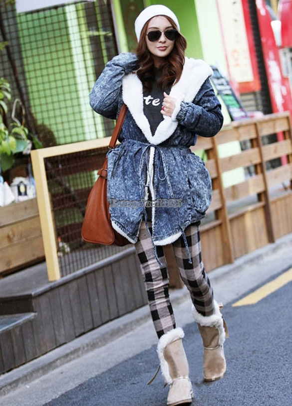 Winter Damen Denim Trenchcoat Hoodie-Jacke mit Kapuze Coole Jean Oberbekleidung | eBay